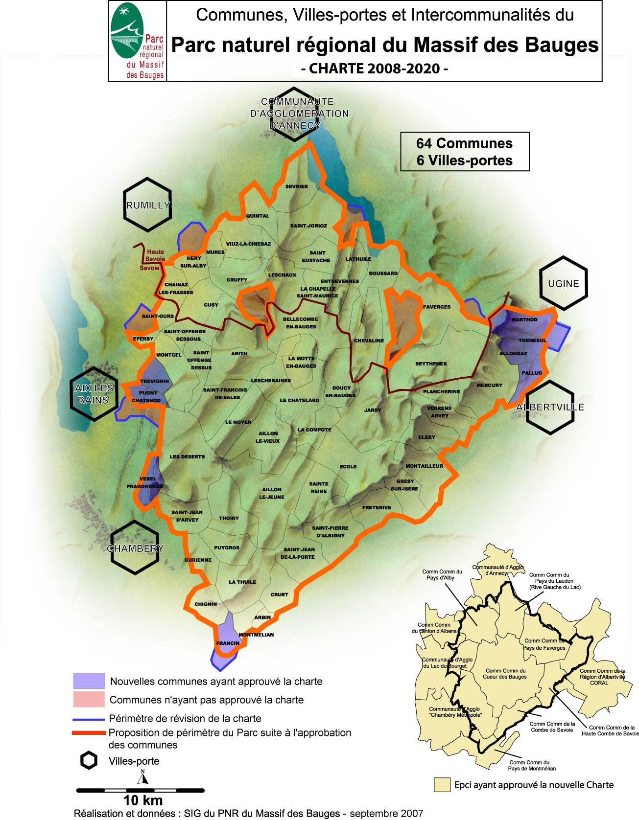 massif des bauges carte Les Alpages des Savoie
